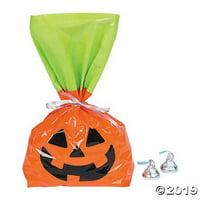 Halloween Jack-O'-Lantern Cellophane Bags