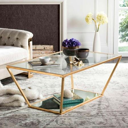"Safavieh Allene 48"" Width Retro Iron Coffee Table, Gold Leaf w/ Glass Top"