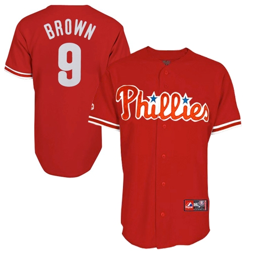 Domonic Brown Philadelphia Phillies Youth #9 Majestic Replica Jersey - Red