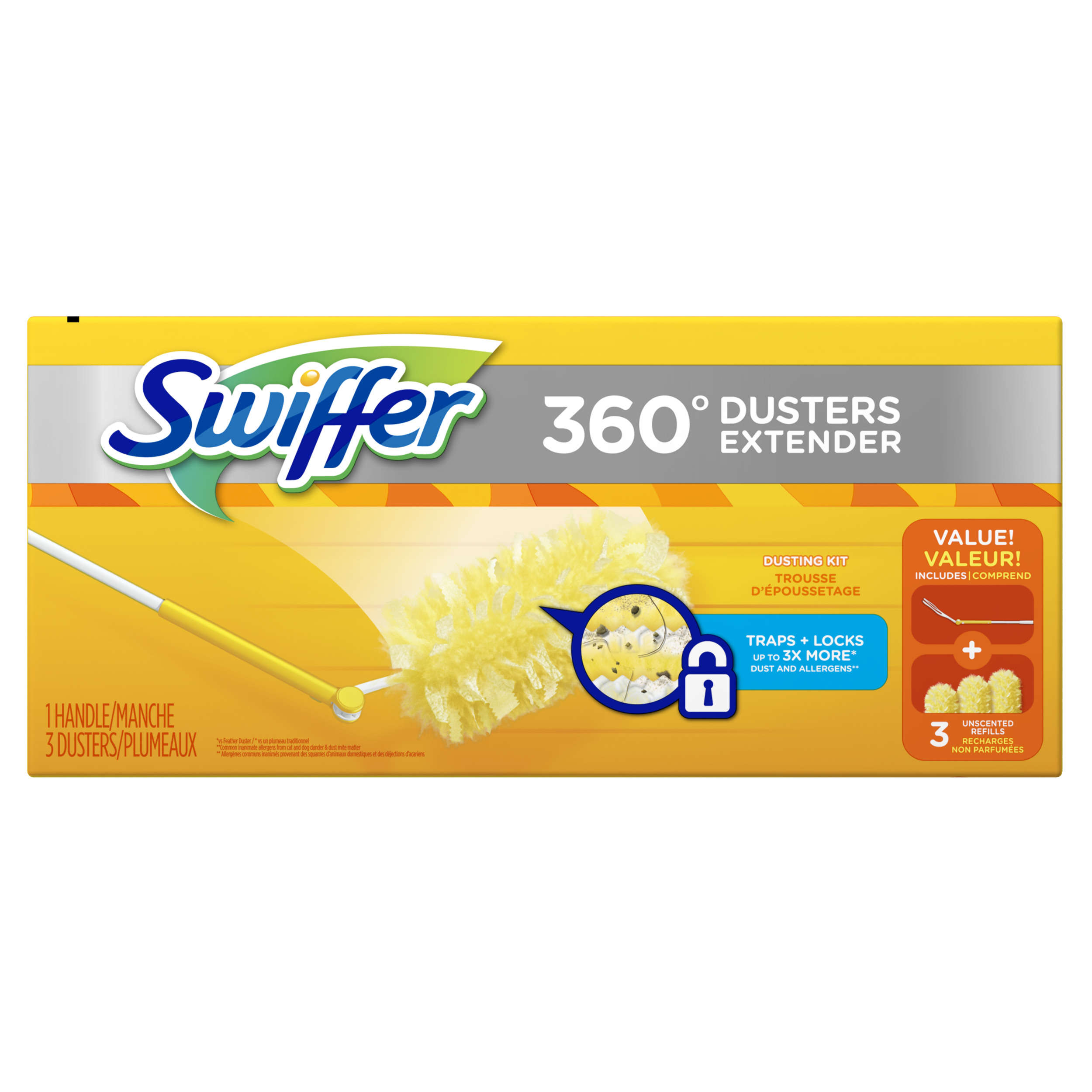Swiffer 360 Dusters Extender Dusting Kit (1 Handle, 3 Dusters)