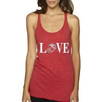Trendy USA 145 - Women's Tank-Top Love Marines USMC Soldier Military Support 2XL Envy