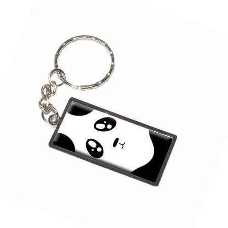 Panda - Bear Cute Full Face - Black and White Keychain](Panda Keychain)