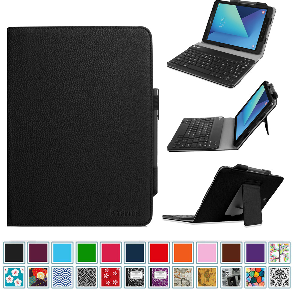 For Samsung Galaxy Tab S3 9.7 Keyboard Case - Premium PU Leather Stand Cover with Removable Bluetooth Keyboard, Black