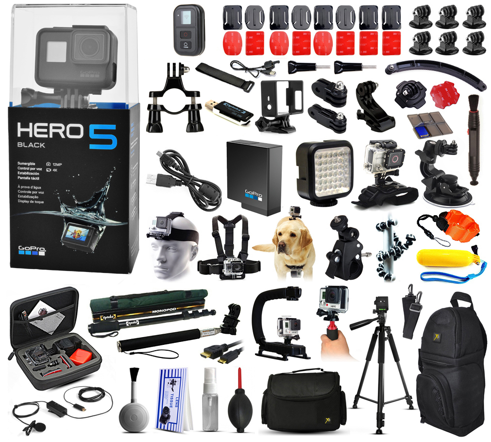 Buy GoPro Hero 5 HERO5 Black Edition with Microphone + X-Grip + LED Light + Car Mount + Travel Case + Selfie Stick + More by GoPro