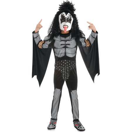 Childs Kiss The Demon Gene Simmons Rock Star Costume Boys Large 12-14 (Famous Rock Star Halloween Costumes)