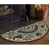 "LR Home Gray / Charcoal 2'3"" x 3'10"" Hearth Geometric Bordered Hearth Half Round Rug"