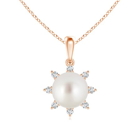 June birthstone south sea cultured pearl and diamond flower june birthstone south sea cultured pearl and diamond flower pendant necklace for women necklace in aloadofball Gallery