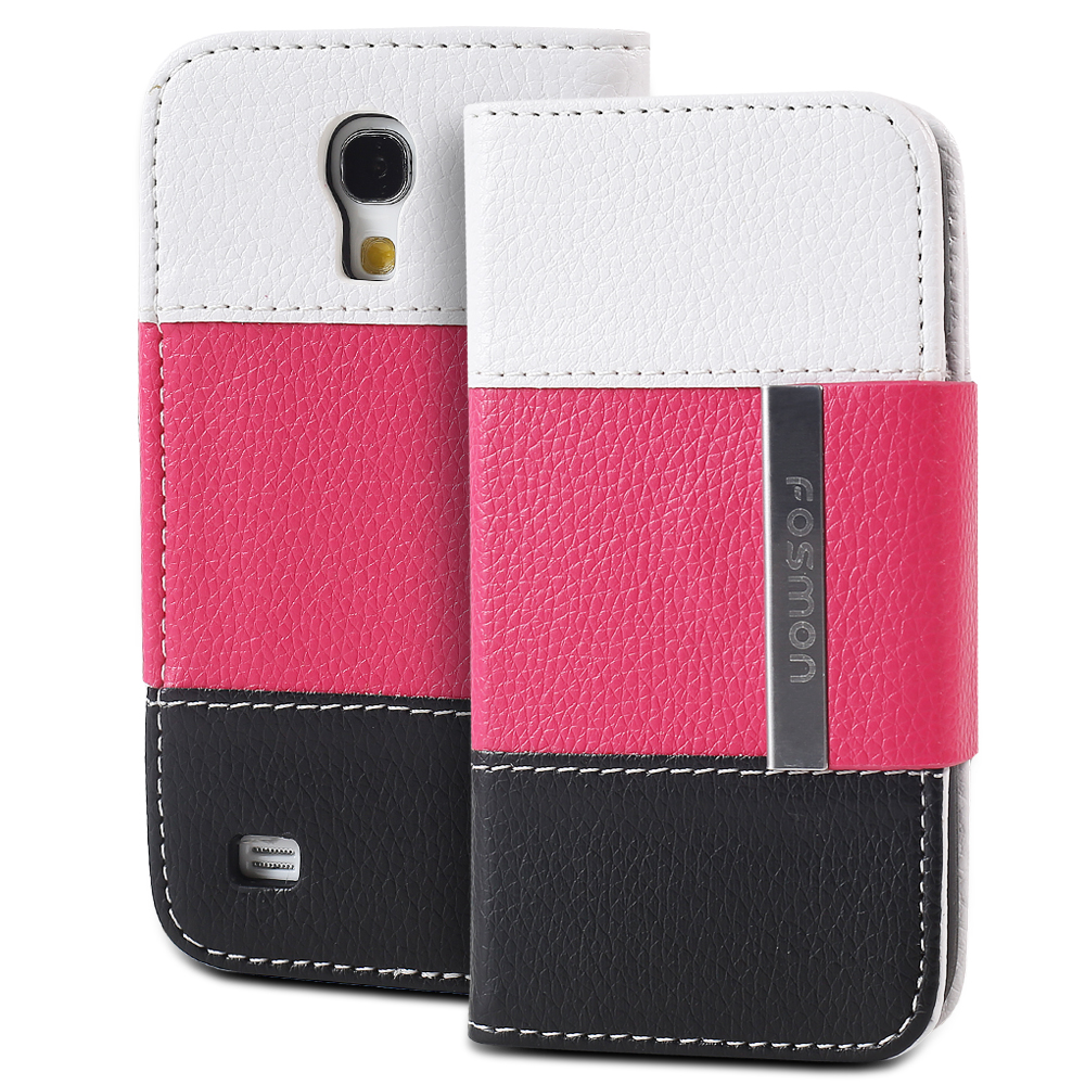 Fosmon CADDY Series Leather Folio Wallet Case for Samsung Galaxy S4 mini / GT-I9190 / GT-I9195 - Tricolor (White/Pink/Bl