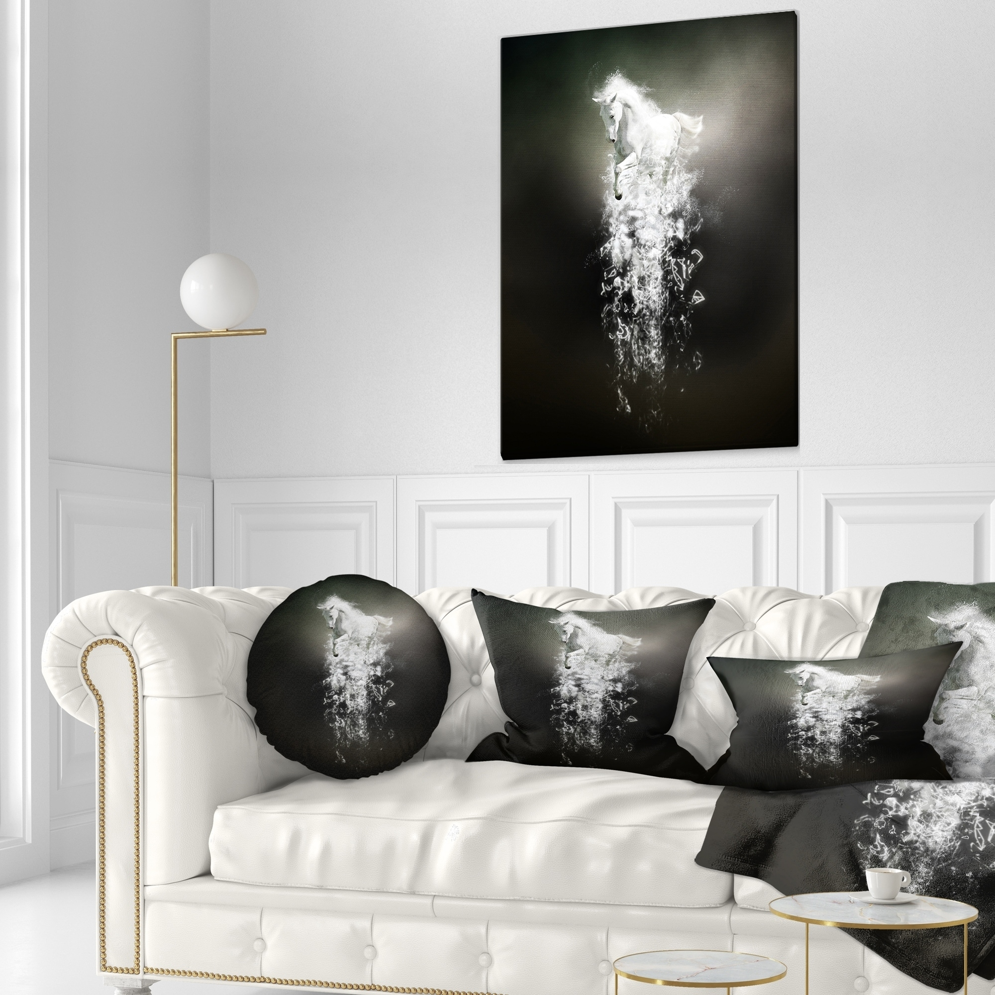 Designart CU13430-26-26 Fantasy White Horse Running Animal Throw Cushion Pillow Cover for Living Room Cushion Cover Printed on Both Side Sofa 26 in x 26 in Pillow Insert