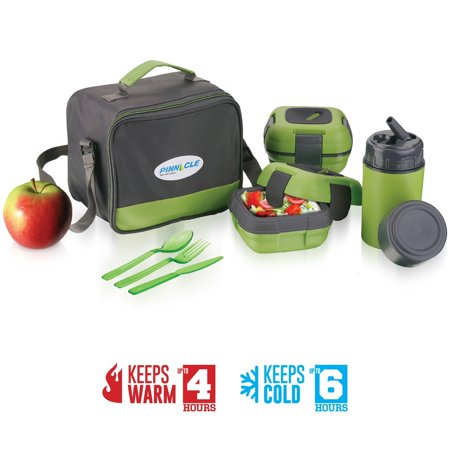 Lunch Box Bag Set for Adults and Kids ~ Pinnacle Insulated Leakproof Thermal Lunch KitLunch BagThermo bottle2 Lunch Containers With NEW Heat Release ValveMatching Cutlery (Green)](Fun Halloween Lunch Box Ideas)