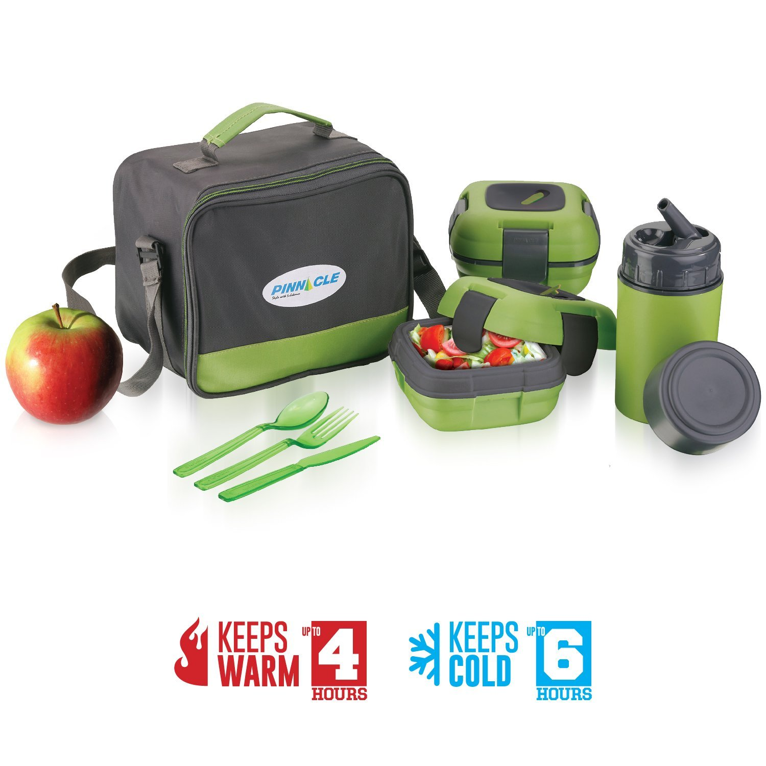 Lunch Box Bag Set for Adults and Kids ~ Pinnacle Insulated Leakproof Thermal Lunch KitLunch BagThermo bottle2 Lunch Containers With NEW Heat Release ValveMatching Cutlery (Green)