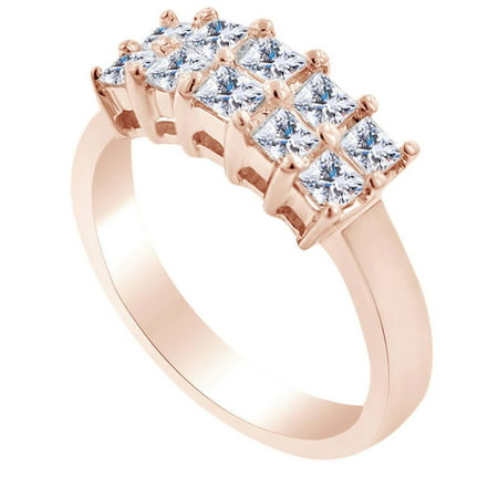 0.99 Carat Princess Shape White Natural Diamond Two Row Wedding Engagement Ring 18k Solid Rose Gold Ring Size-9.5