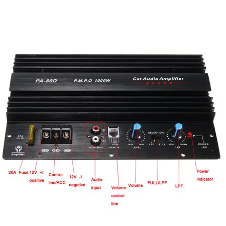Powerful 10'' 1000W 12V 4ohm 1CH Mono Car Audio High Power Amplifier Board Bass Subwoofer Amp Connect For Speaker / CD Player - image 10 of 10