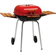 Meco Americana Charcoal BBQ Grill with Adjustable Cooking Grate and Side Table