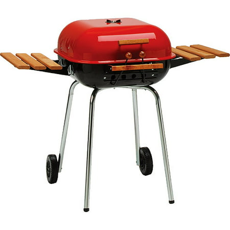 Meco Americana 21 Inch  Charcoal Bbq Grill  With Adjustable Cooking Grate And 2 Composite Wood Folding Side Tables  Red