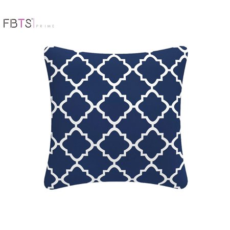 Throw Pillow With Insert Indoor Outdoor 18 By Inches Decorative Square Cushion Cover Sham Navy Blue Quatrefoil Lattice For Couch Bed Sofa Patio