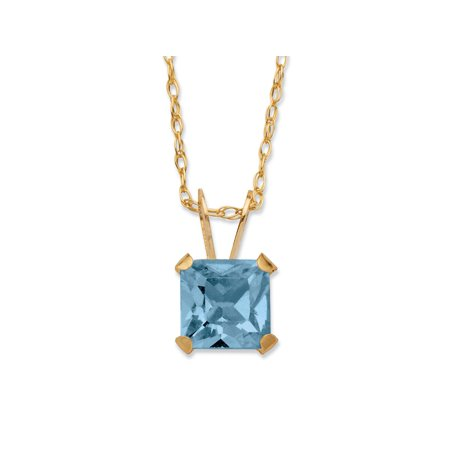 Princess-Cut Birthstone Pendant Necklace in 10k Gold ()