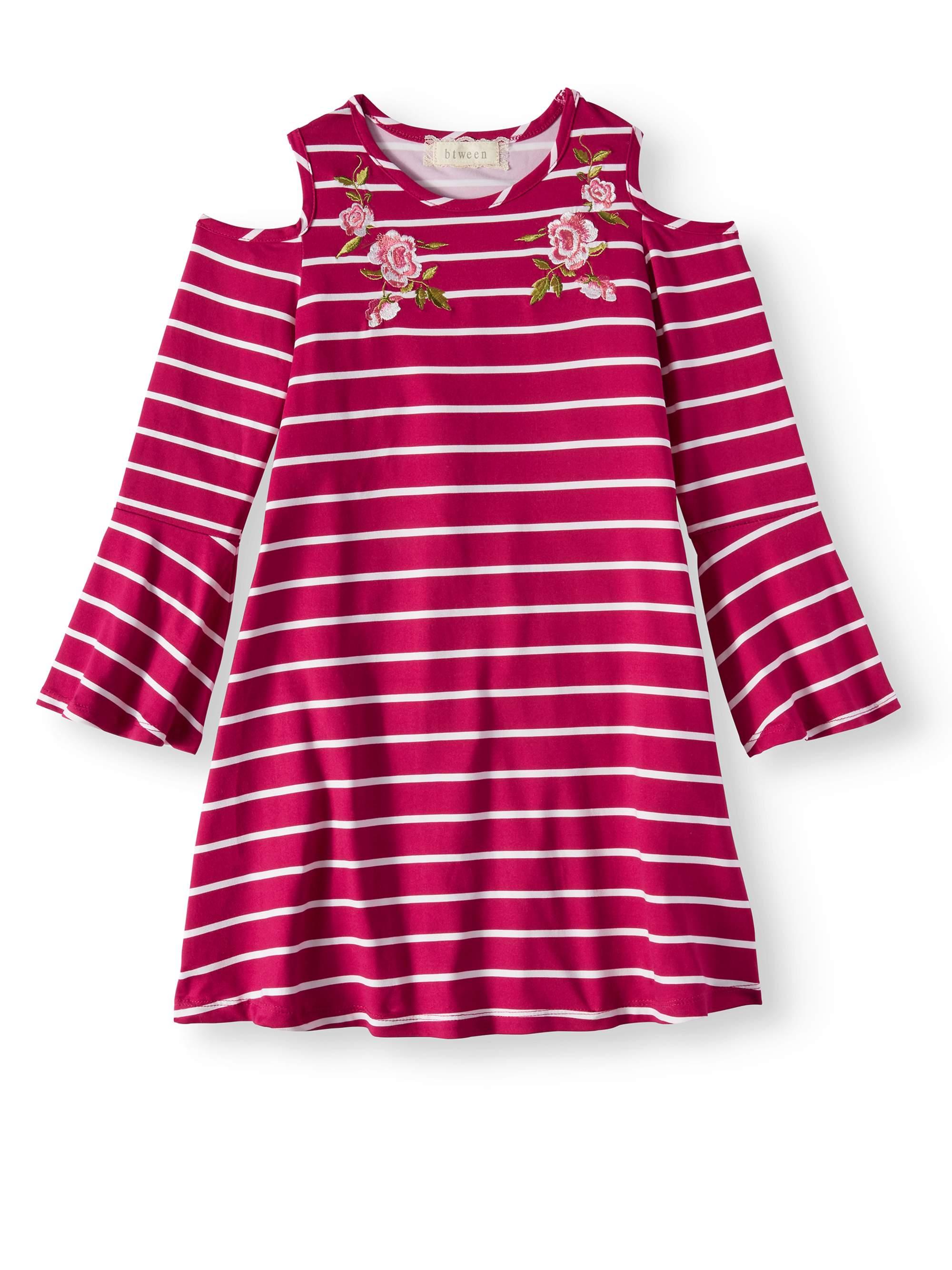 Big Girls' Embroidered Striped Cold Shoulder Dress