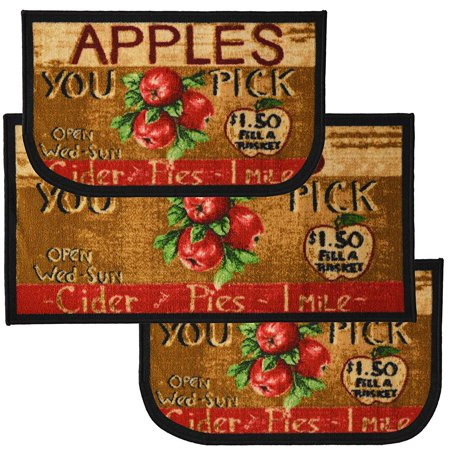Apple Cider 3pc Kitchen Rug Set, (2) Slice 18
