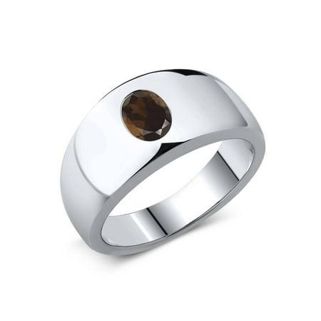1.20 Ct Oval Brown VS Smoky Quartz 925 Sterling Silver Men's Ring ()