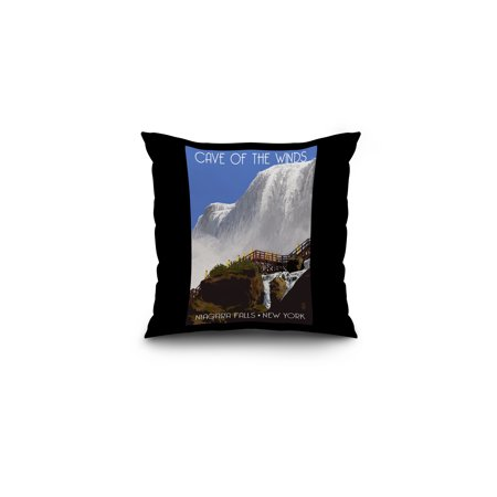 Niagara Falls, New York - Cave of the Winds Close Up - Lantern Press Artwork (16x16 Spun Polyester Pillow, Black