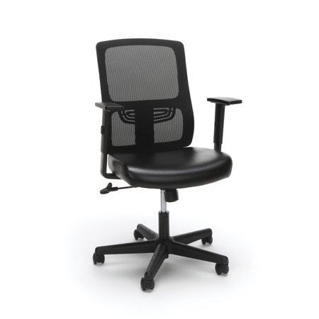 Essentials by OFM ESS-3048 Ergonomic Mesh Back Chair with Leather Seat, Black Black Leather Mesh Chair