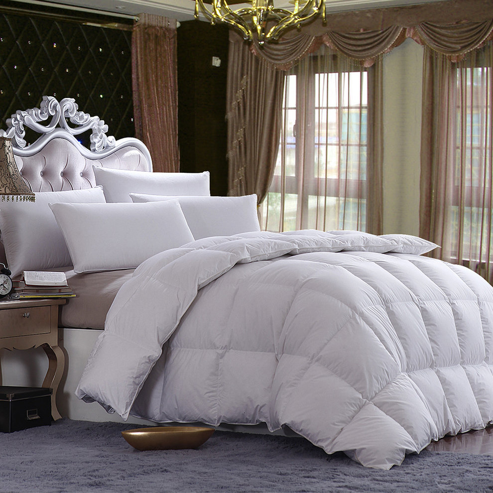 220x260cm/86''x102'' Cotton Bedding Soft White Duvet 85% Duck Feather Quilt