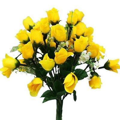 180 Artificial Silk Mini Rose Buds Wedding Bouquet Vase Center - Yellow - Mini Bud Vases
