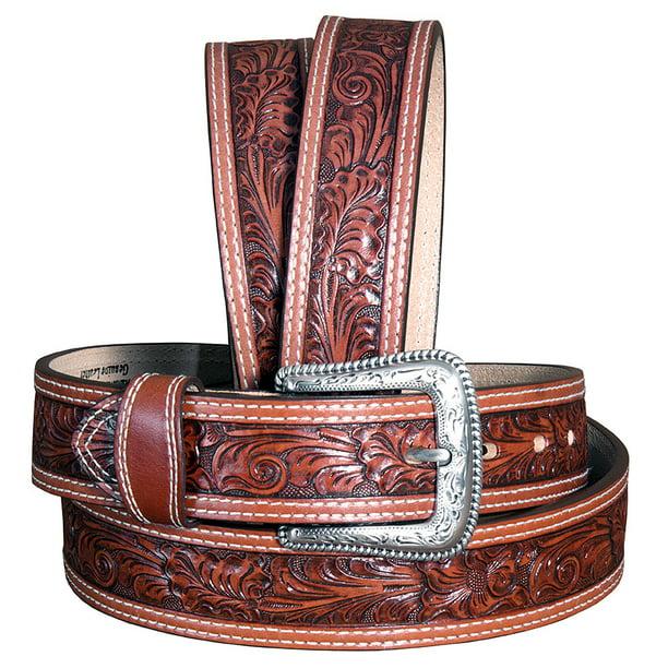 "Western Figure 8 Genuine Leather Tooled Jean Belt Strap 1-1//2/"" Wide Size 32/""-46/"""