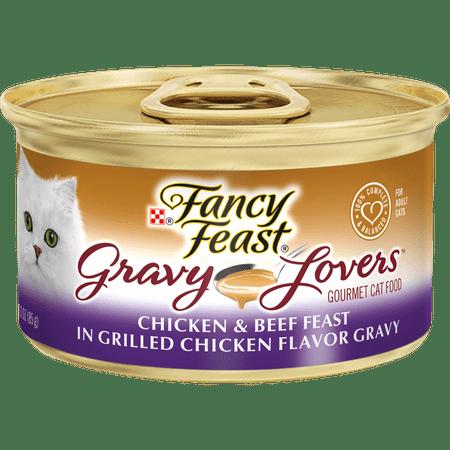 (24 Pack) Fancy Feast Gravy Wet Cat Food, Gravy Lovers Chicken & Beef in Grilled Chicken Flavor Gravy, 3 oz. Cans