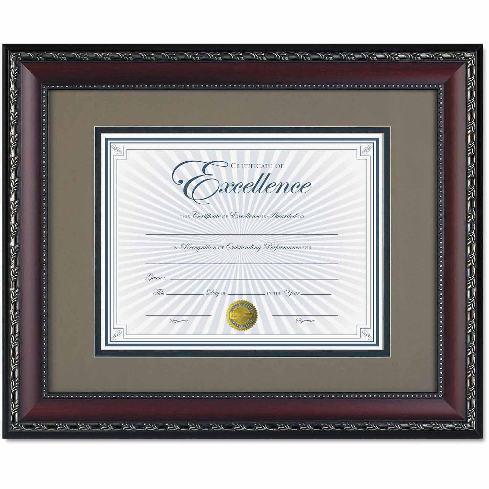 """DAX World Class Document Frame with Certificate, Walnut, 11"""" x 14"""""""