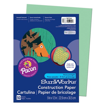 Construction Paper 9x12 Light - SUNWORKS 9X12 LIGHT GREEN 50CT CONSTRUCTION PAPER