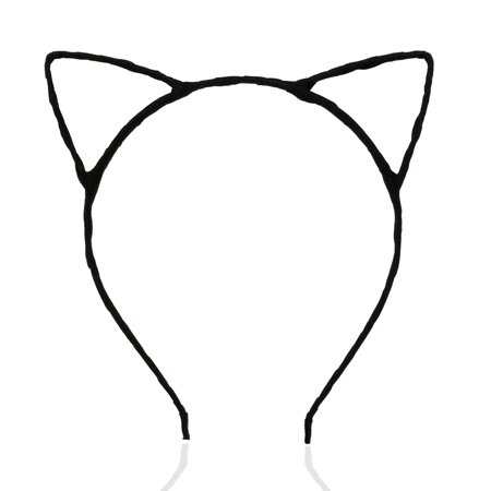 PIXNOR Cute Fancy Dress Costume Party Cat Ears Wired Headband (Black) - Metal Head Halloween Costume