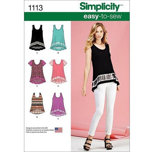 Simplicity Misses' Size XXS-XXL Easy-To-Sew Knit Tops Pattern, 1 Each