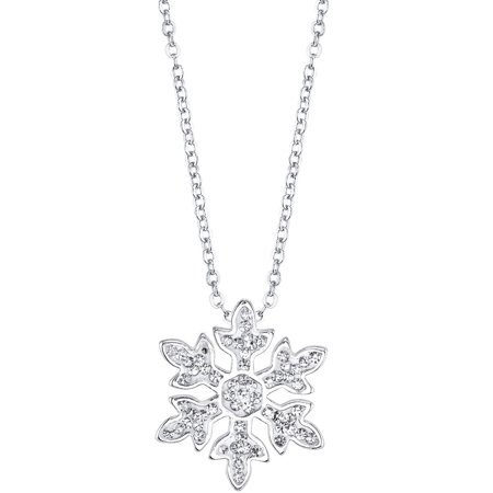 Clear Crystal Silver-Tone Frozen Snowflake Necklace, 18](Frozen Jewelry)