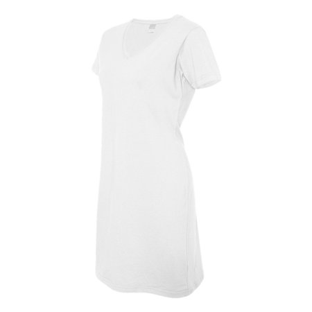LAT - Ladies Fine Jersey V-Neck Coverup T-Shirt Beach and Lounge Dress (Around The World Dress Up)