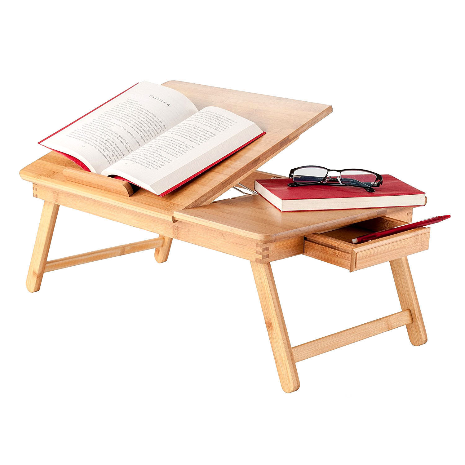 UBesGoo Portable Bamboo Laptop Desk Table Folding Breakfast Bed Serving Tray + Drawer