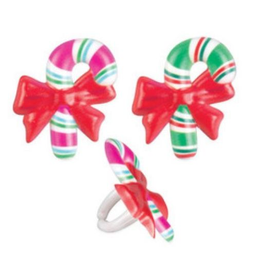 24 Candy Cane Christmas Cupcake Rings Party Favors Cake Topper