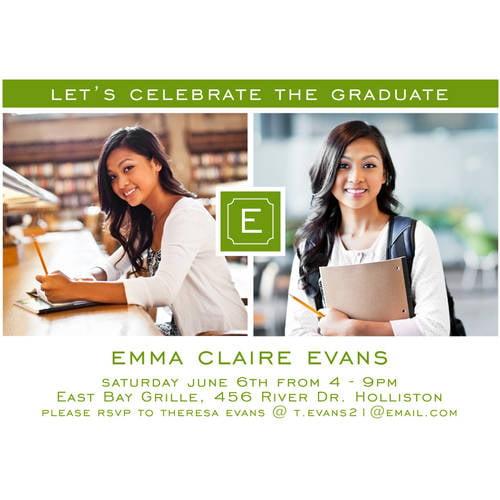 Monogram Quad Graduation Invitation
