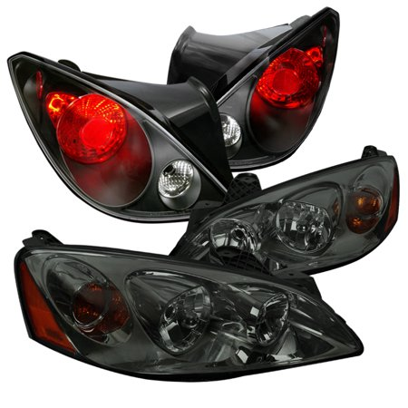 Spec-D Tuning 2006-2009 Pontiac G6 2Dr Coupe Smoke Lens Tinted Headlights + Black Tail Lights Brake Lamps (Left + Right) 2006 2007 2008 (Porsche Tail Light Lens)