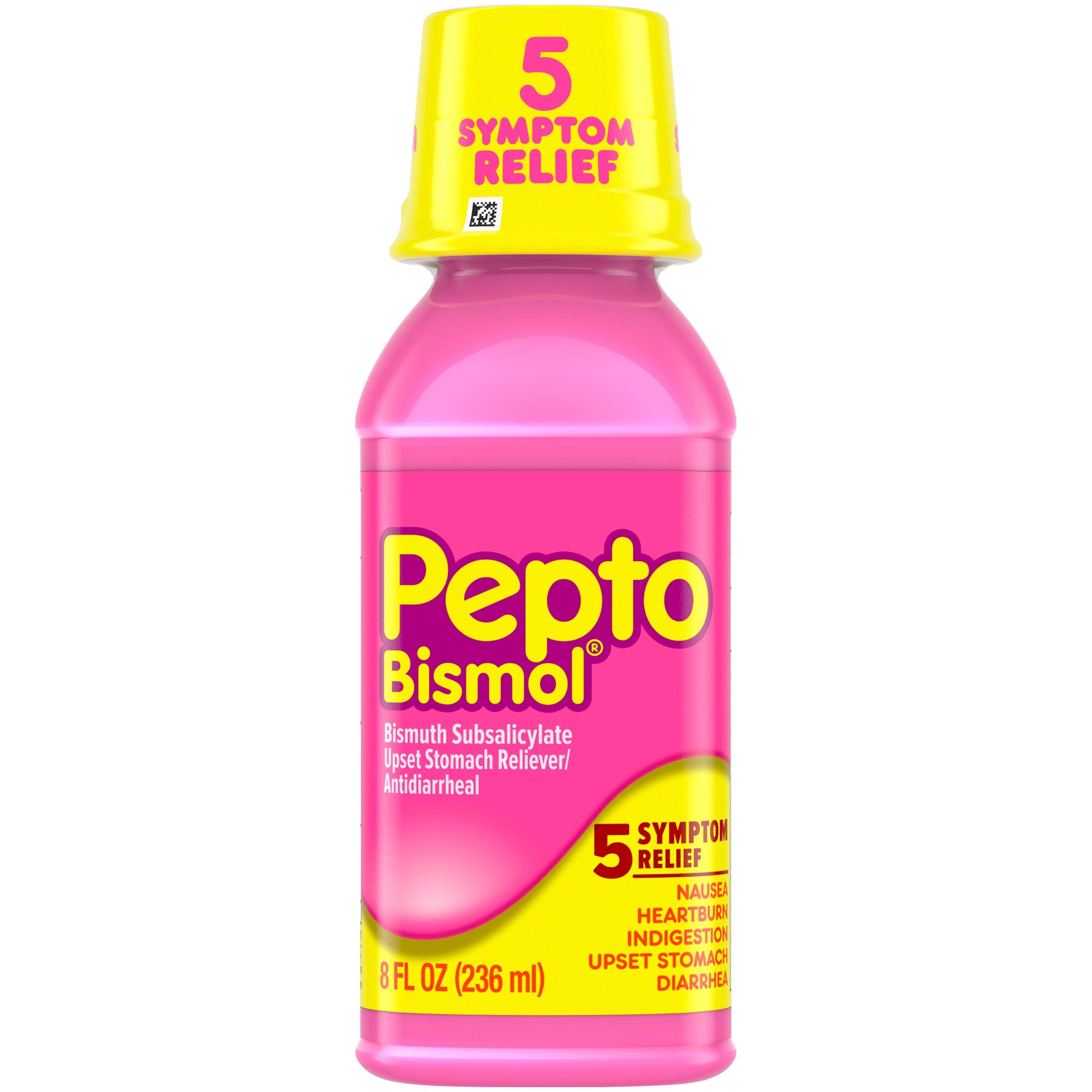 Multi-Symptom Pepto Bismol Liquid for Nausea, Heartburn, Indigestion, Upset Stomach, and Diarrhea Relief, Original Flavor 8 oz