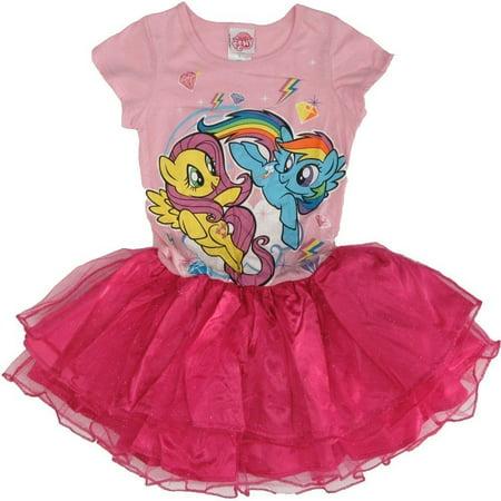 Hasbro Girls Pink My Little Pony Print Short Sleeved Tutu Dress - Pony Dresses