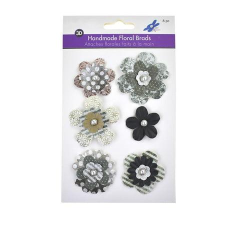 Paper Craft Floral Brads, 6-Piece, -