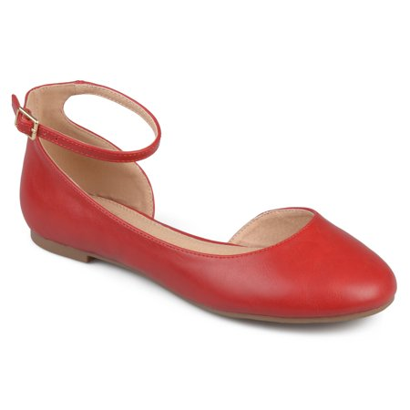 Women's Faux Leather Wide Width Ankle Strap Round Toe D'orsay Flats