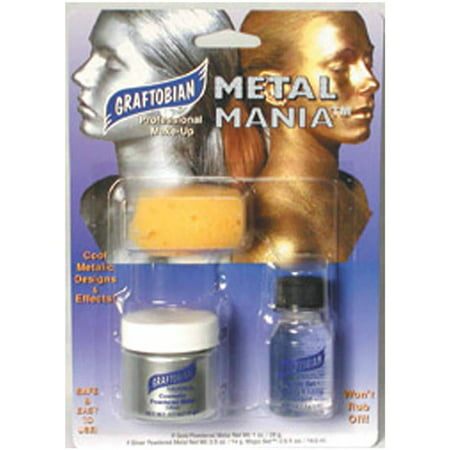 Metal Mania Silver Makeup Kit Halloween Accessory (Zip Makeup Halloween)