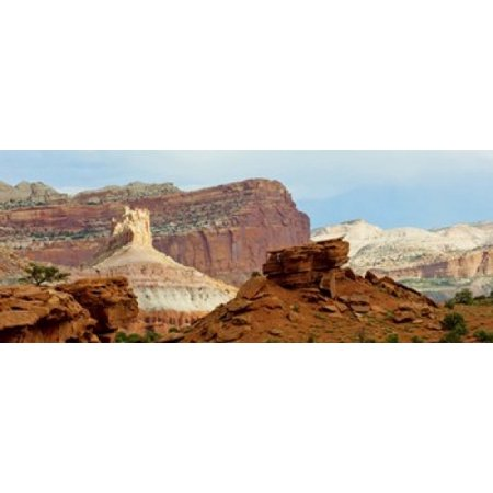 Natures Image Reef Rock (Rock formations on a national park Capitol Reef National Park Utah USA Canvas Art - Panoramic Images (15 x 6))