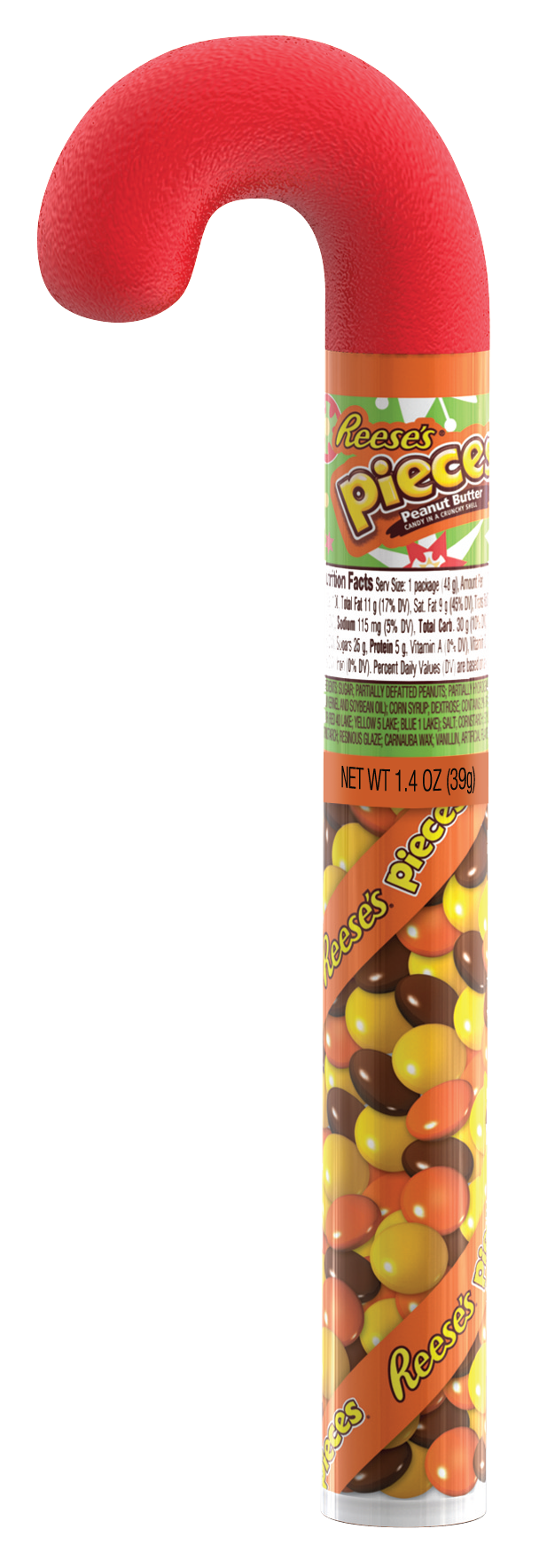 Reese's, Holiday Pieces Peanut Butter Candy Filled Cane, 1.4 Oz.