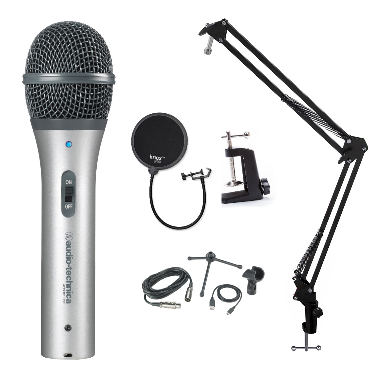 Audio-Technica Microphone with Knox Gear Pop Filter, Boom Arm and Shock Mount