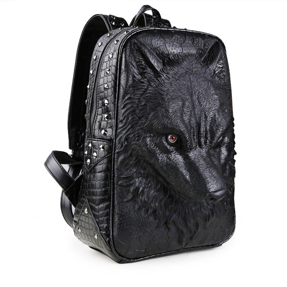 Koolertron 3D Animal School Backpack Wolf Studded College...