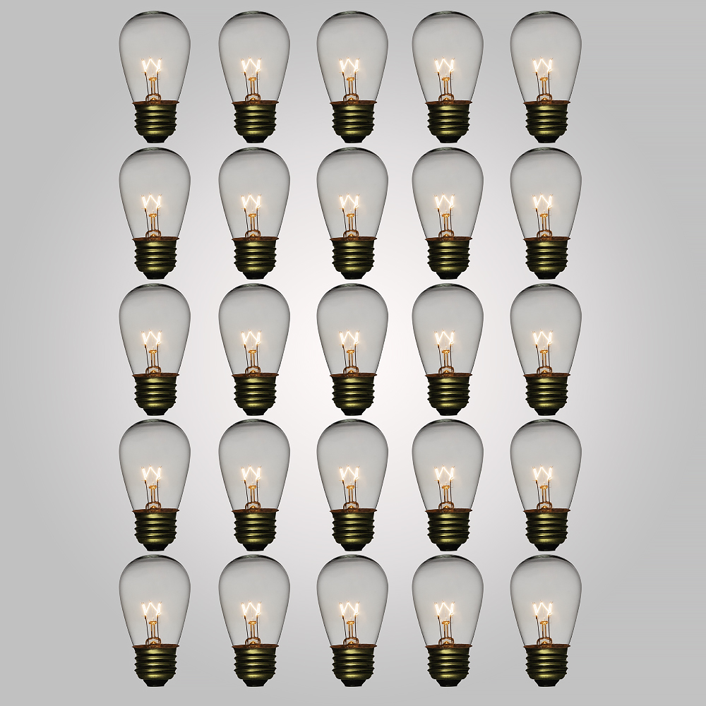 Fantado Clear 11-Watt S14 Sign Light Bulbs, E26 Medium Base (25 PACK) by PaperLanternStore